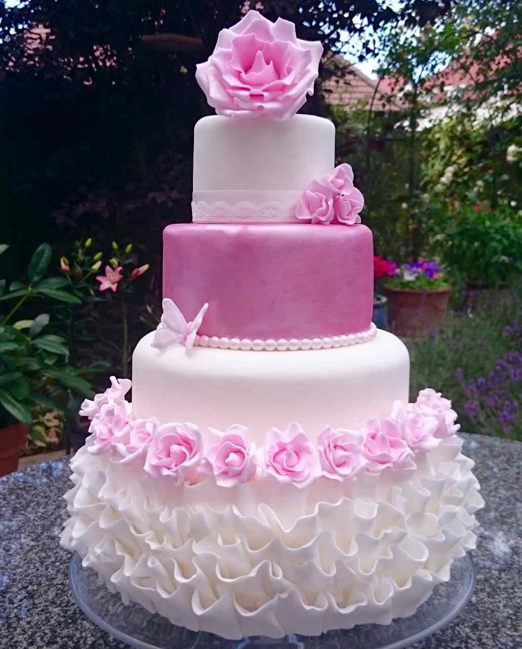 pink rose and ruffle wedding cake - Serendipity Cake Company