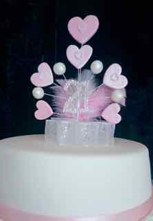 21 Birthday Diamante Pink Pearl Hearts Cake Topper