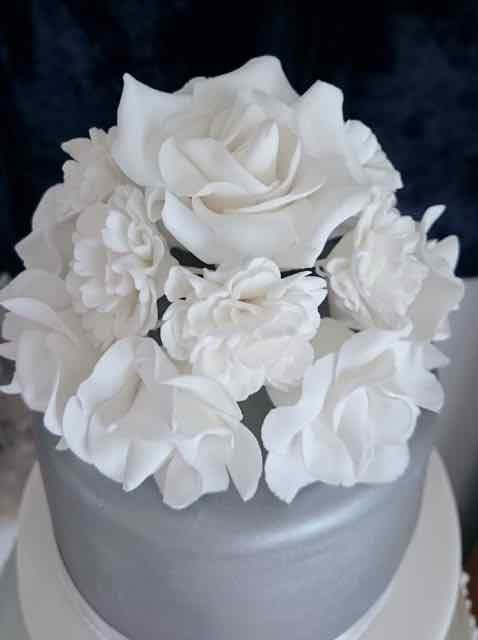 White Roses Wedding Cake Topper