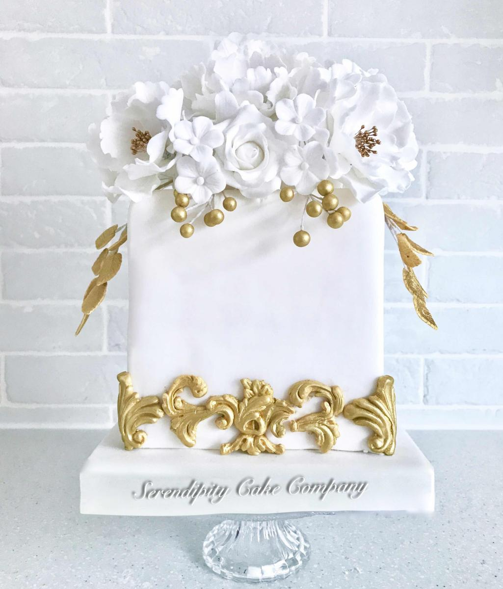 White and Gold Wedding Cake by Serendipity Cake Company